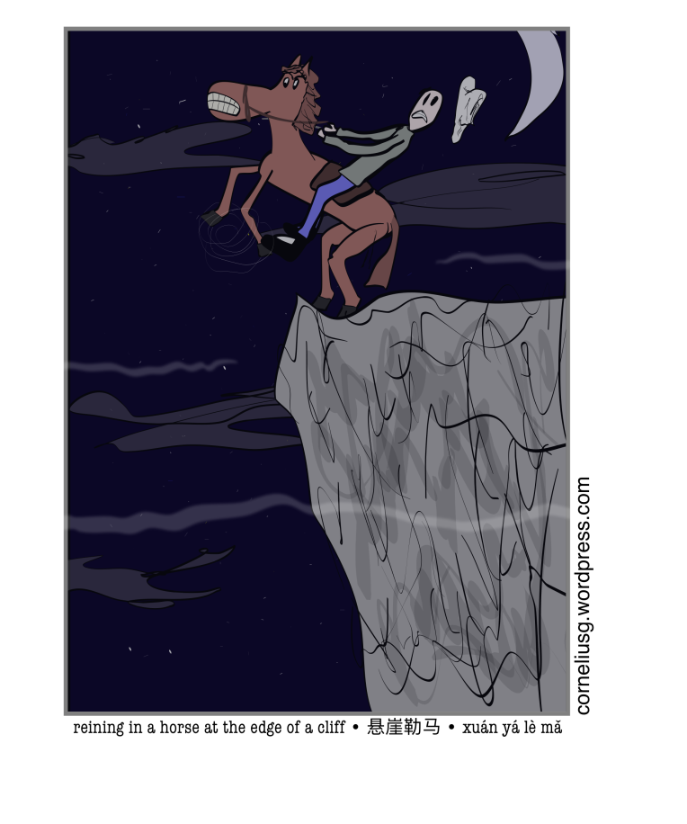 Reining In A Horse At The Edge Of A Cliff